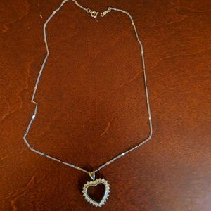 Heart Necklace CZ Diamonds